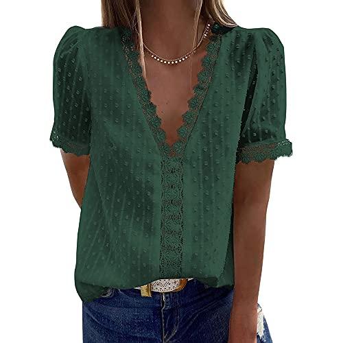 CARCOS Blusa de mujer de encaje, cuello en V, elegante, manga corta, de gasa, túnica, informal, blusa para mujer, tallas S-2XL