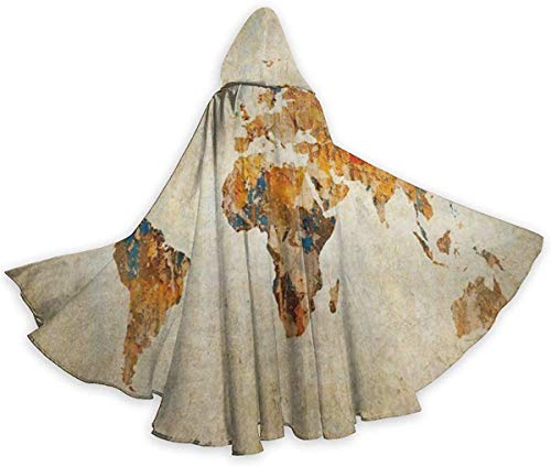 remmber me Antike Erde Karte Halloween Mantel Phantasie Kapuzenumhang mit Kordelzug Erwachsene Coole Hexe Robe Extra Lange Party Cape schwarz 59 x 15,8 Zoll