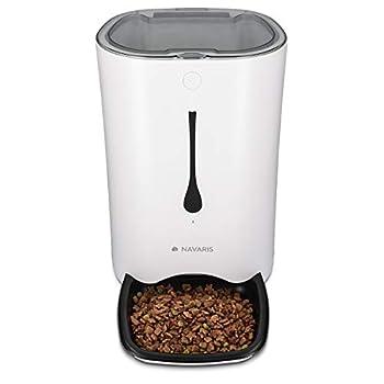 Navaris Distributeur Croquettes Chat Chien Automatique - Gamelle Alimentation Animaux - Programmable 4 Repas par Jour - Enregistrement Vocal - 6L
