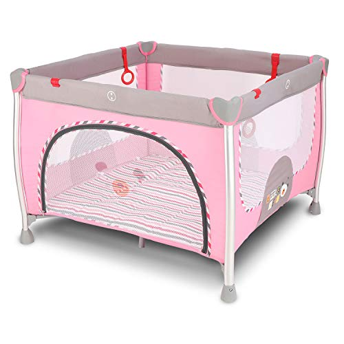 DOTMOM Cobabies Smart Folding Aluminium Baby Playpen, Kids Portable Playard Fence for Babies (Pink)
