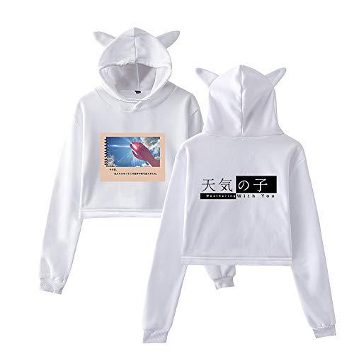 MLX-BUMU Weather Child Sudaderas con Capucha de Moda para Mujer Sudadera con Orejas Cortas Casual Jersey de Manga Larga con Capucha Ropa de Pareja Otoño,XS