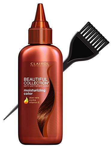 Clairol BEAUTIFUL COLLECTION Moisturizing SEMI-PERMANENT Hair Color Dye (w/Sleek Tint Brush) No Ammonia No Peroxide Haircolor Aloe Vera Jojoba Vitamin E (B09W - Light Reddish Brown)