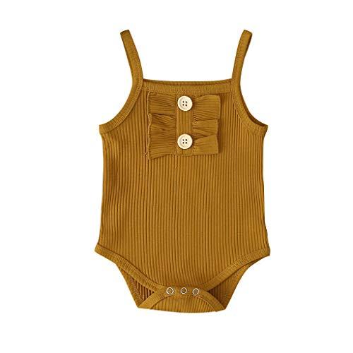 LEXUPE Neugeborene Baby Mädchen Reine Farbe Rüschen Hosenträger Strampler Bodysuit Outfits(Braun,100)