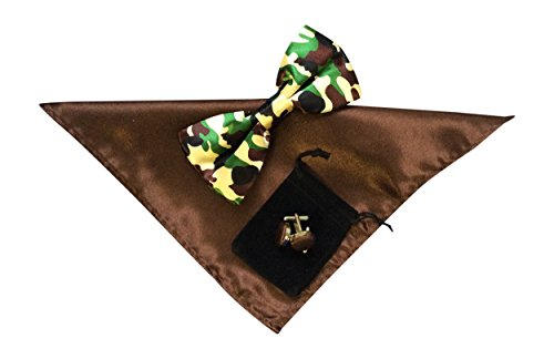 Mens Bow Tie Zakdoek en manchet links set Leger Bruin No38