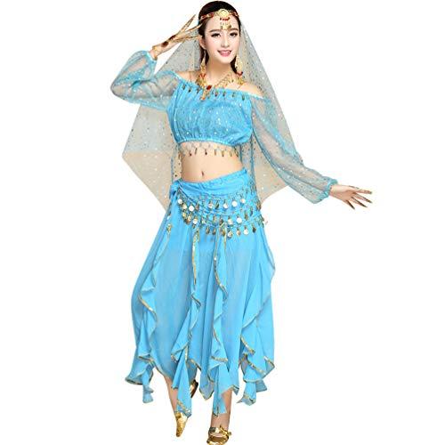 TianBin Paillettes Danza del Ventre Costume per Donna Indiano Danza Vestiti con Molti Accessori (Lago Blu#2, Taglia Unica)