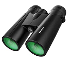 【Powerful 12x42 Binoculars, but Lightweight Enough】 Weight only 1.1 pounds (0.6 Pounds lighter than 10x50 full size binoculars). Equipped with 12x powerful magnification, 42mm large objective lens and 367ft/1000yds large field of view. Capable of del...