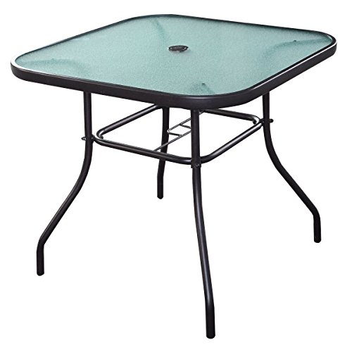 Giantex 32.5'' Outdoor Glass Table W/Tempered Tabletop and Umbrella Hole Square Outside Bar Dining Table for Deck Garden Pool Outdoor Furniture Patio Table
