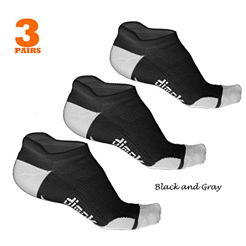 Athletic Running Socks - No Show Wicking Blister Resistant Long Distance Sport Socks for Men and Women (Black, Large)