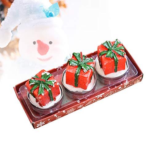 Amosfun Tres Velas navideñas,una Caja de Regalos,una Mesa de Navidad Anaranjada,Adornos de Tienda,decoración de Fiestas.