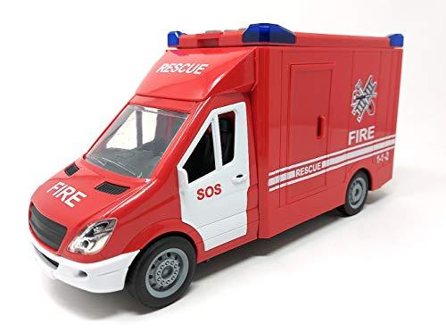 Feuerwehrauto, Einsatzleitung Auto Spielzeug, Spielzeugauto mit Blaulicht und Sound, 27 cm