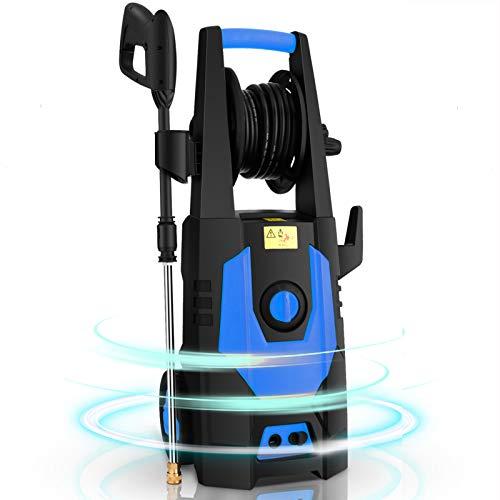 CHAKOR Pressure Washer 3600 PSI, 2.4GPM Power Washer Machine, 1800W High Pressure Cleaner with 4 Adjustable Nozzle, Spray Gun, Hose Reel, Brush (Blue)