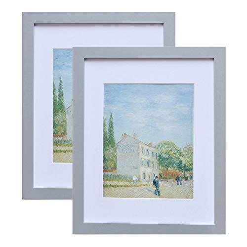 Muzilife Bilderrahmen 28x35cm 2er Set Fotorahmen, mit Passepartout für 20x25cm Foto, für Wohn- und Schlafzimmer Deco (Grau)