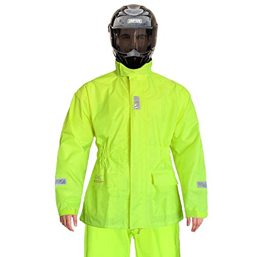 Rain Suit for Men Women Motorcycles Cycling Waterproof Rain Jacket with Pants Reflective tape(Small, Fluorescence)