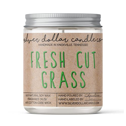 8oz Fresh Cut Grass Soy Candle Hand poured 100% Soy Scented Candle by Silver Dollar Candle Co.