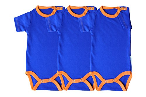 Princess Taufkleid Kurzarm Body 3er Pack blau/orange Grösse 56 100% Baumwolle Druckknöpfe