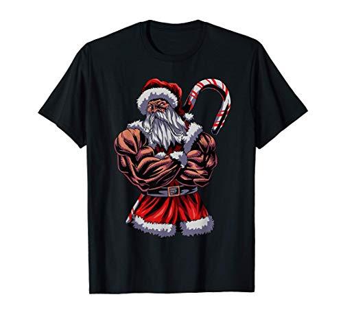 Navidad Papá Noel Gym Músculos Día festivo Idea de Regalo Camiseta