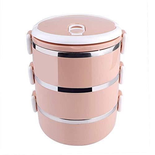 WJSW Fiambreras aisladas de 3 Capas Fiambrera térmica portátil Recipientes de Almacenamiento apilables de Acero Inoxidable Apto para lavavajillas para niños Adultos Oficina Escuela Picnic Viajes