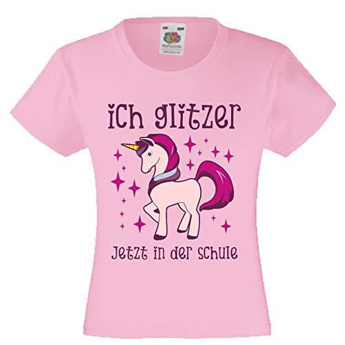Camiseta de Manga Corta para niña, diseño de Unicornio Rosa. 128