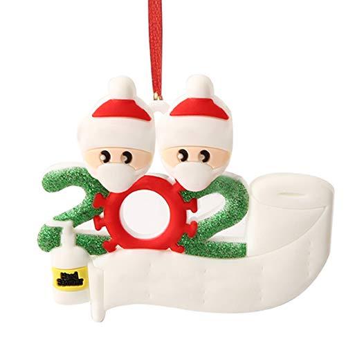 Hbsite Weihnachtsverzierung Weihnachtsanhänger 2020 Personalisierte Quarantänefamilie Weihnachtsbaumschmuck Weihnachtsdekoration Überlebender kreatives Geschenk (2 Personen Familie)