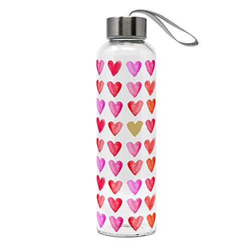 MIK Funshopping Botella de cristal de borosilicato con cierre de rosca y correa de transporte, 500 ml, diseño de corazones de acuarela