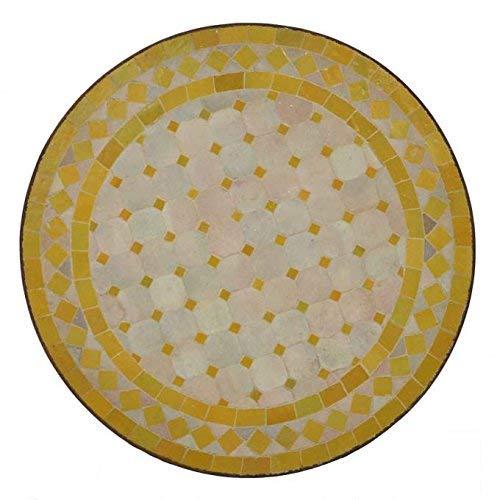 Casa Moro Marokkanischer Mosaiktisch Ø 45 cm rund gelb Raute mit Gestell Höhe 55cm | Kunsthandwerk aus Marrakesch | Mediterraner Gartentisch Bistrotisch Balkontisch | MT2991