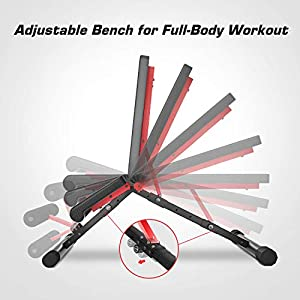 Pelpo Weight Bench for Full Body Workout, Strength Training Bench Press in Home Gym, Decline Incline Adjustable Utility Weight Bench with Fast Folding, Black Frame