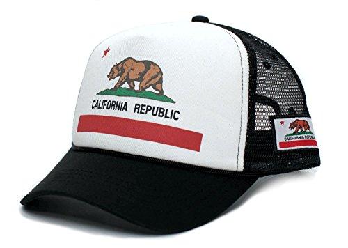 Custom California Republic State Flag Cali Unisex-Adult Trucker Hat Multi (White/Black)