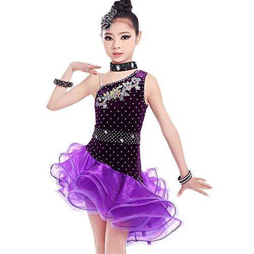 Costumes de danse pour enfants, jupes moelleuses pour filles Vêtements de danse de style lombard latin, adaptées aux représentations sur scène, test de danse standard national (120-160 cm) ZDDAB