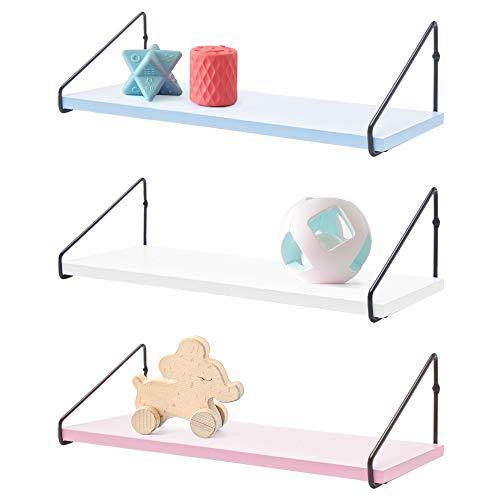 VOSAREA Wall Mounted Floating Shelves Crown Floating Display Shelves Wall Storage Rack Organizer for Kids Room (Pink)