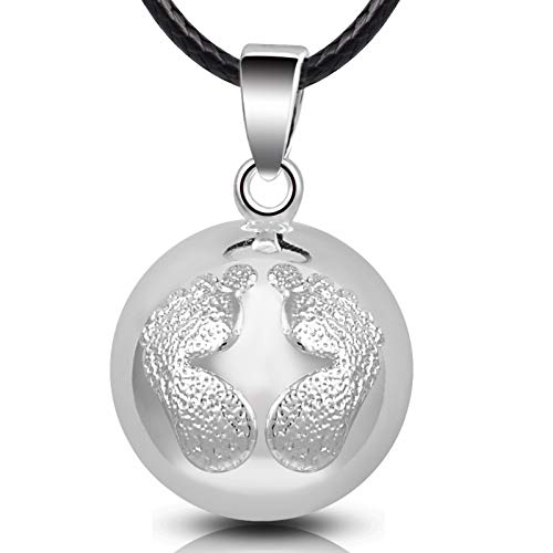 EUDORA Harmony Ball Bola de Grossesse Ange des Sons Collier Pendentif Balle de Musique Carillon pour Maman bébé Dames Beau Cadeau de Bijoux, 114cm + 76.2cm