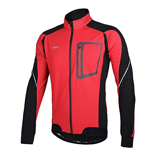 ARSUXEO Winter Thermal Fleece Cycling Jacket Windproof 14D Red Size Large