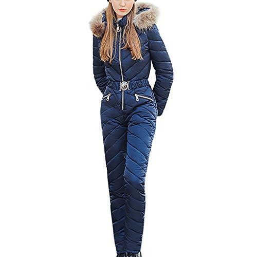 Alwayswin Frauen Outdoor Softshell Schneeanzug Schneeoverall Mit Tasche Wasserdicht Skianzug Winter Plüsch Hoodie Kragen Reißverschluss Baumwolloverall Einfarbig Warme Bodys Mantel