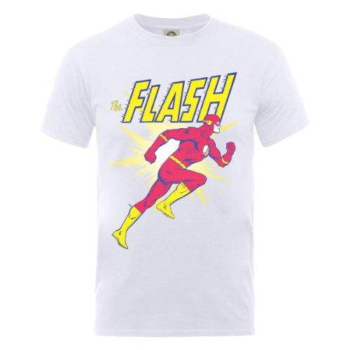 DC Comics DC0001251 Official Flash Running Camiseta, Blanco, XL para Hombre