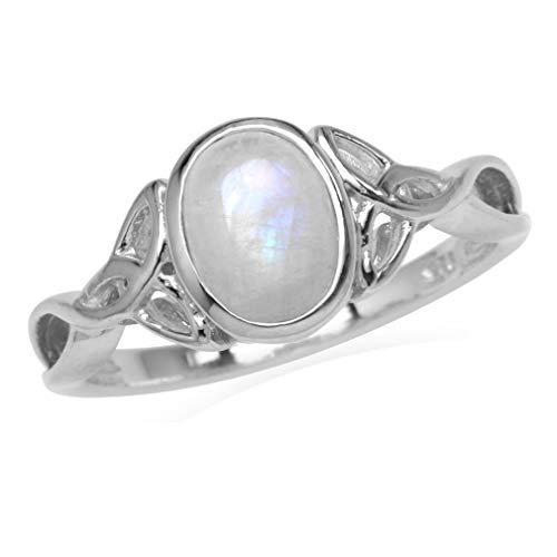 Silvershake 8X6mm Natural Oval Shape Moonstone White Gold Plated 925 Sterling Silver Triquetra Celtic Knot Ring Size 6