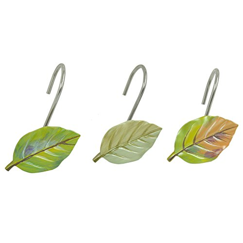 Bacova Guild Shower Curtain Hooks, Waterfalls Leaves