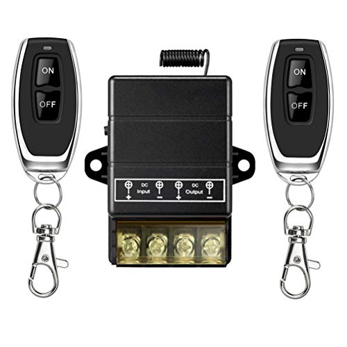 YETOR Interruptor de Control Remoto, Interruptor Remoto de Relé DC 12V / 24V / 48V / 72V / 40A para Alarmas Antirrobo, Puerta Lind de Rodillo de Sistemas de Seguridad,Barreras de Puertas, etc.(black)