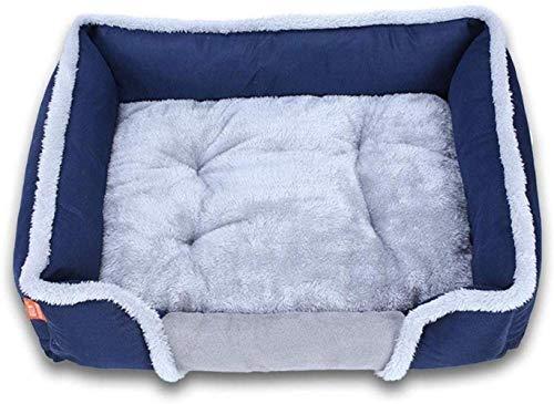 YLCJ Comfortabel slaapbank voor zachte en wasbare honden, Sofa voor honden warm voor alle seizoenen Bed voor dieren met omkeerbaar kussen Hondenmand Ademend hondenhuis (Kleur: rood, Maat: XL (90x70x18cm)), L(80x60x18cm), Blauw
