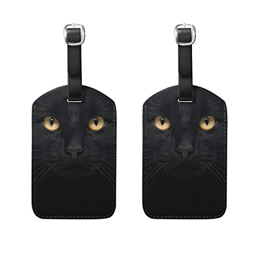 COOSUN Black Cat Luggage Tags Travel Labels Tag Name Card Holder for Baggage Suitcase Bag Backpacks, 2 PCS