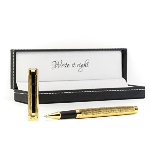 Premium Kugelschreiber Gerald hochwertig Gold Stil - edel elegant stilvoll - Business Kuli mit Lederbox Geschenk Etui - Hochwertiger edler Stift