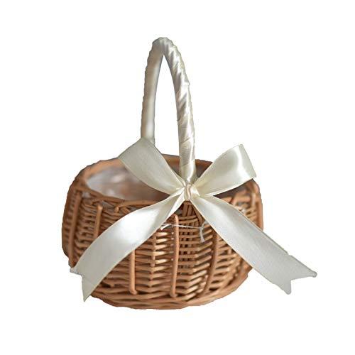 Cesta de mimbre de mimbre, cesta de flores para boda, cesta tejida a mano de sauce con asas e inserción de plástico, cesta de dulces para decoración de jardín del hogar