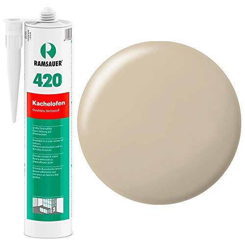 Ramsauer 420 Kachelofen - Profi Acryl Dichtstoff für Kachelofenfugen und Anschlussfugen - 310ml Kartusche (Hellbeige)