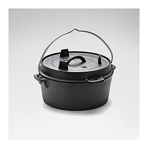 LKJHG Forno Olandese in ghisa 2 in 1, pentola da Campo Multifunzione all'aperto, pentola per zuppa Portatile con Coperchio per Cottura casalinga e Cottura al Barbecue