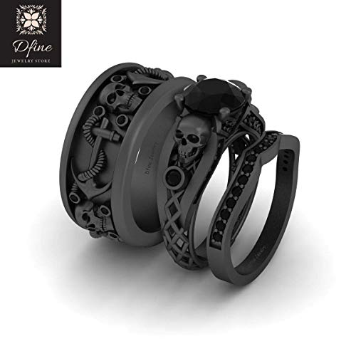 His and Her Matching Skull Wedding Ring Band Set Onyx Black Mesh Skull Ring Anchor Nautical Band Solid 925 Silver