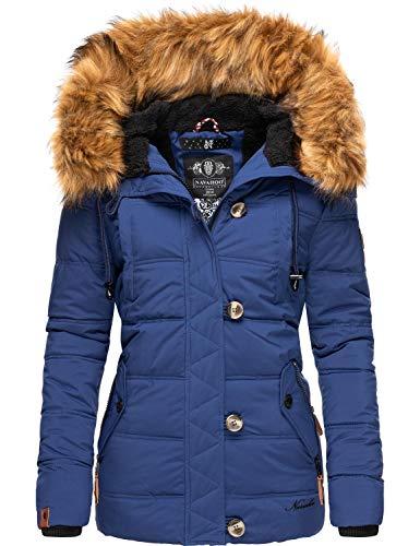 Navahoo Zoja Giacca invernale da donna trapuntata con pelliccia sintetica rimovibile Blu S