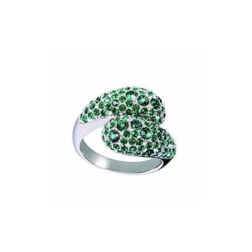 Glamour World Ring 925 sterling zilver met Swarovski-kristallen smaragd