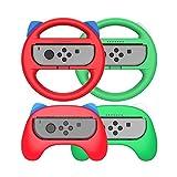 WYJW Grip and Switch Volantes para Nintendo Switch Joy-con Controller, Joy-con Hand Grip para Mario Kart Game/Kits de Accesorios de Nintendo Switch (Deluxe 4 Packs), Rojo + Verde