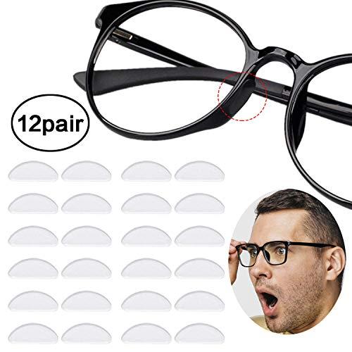 Reccisokz 12 Paare Adhesive Nasenpads Anti Rutsch Silikon Brillen Pads für Gläser Sonnenbrille Brille (1.5 mm Durchsichtig)