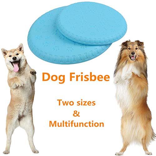 BUYGOO 2 Piezas Frisbees para Perros Suave y Natural Volar Discos Juguete para Morder y Entrenar con Colores Brillantes para Perro Pequeño/Mediano/Grande (Azul)