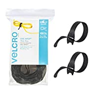 """VELCRO Brand ONE-WRAP Cable Ties   100Pk   8 x 1/2"""" Black Cord Organization Straps   Thin Pre-Cut Design   Wire Management for Organizing Home, Office and Data Centers"""