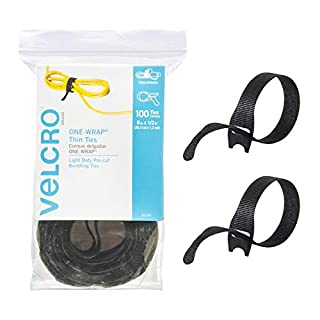 VELCRO Brand ONE WRAP Thin Ties | Strong & Reusable | Perfect for Fastening Wires & Organizing Cords | Black, 8 x 1/2-Inch | 100 Count (B001E1Y5O6) | Amazon price tracker / tracking, Amazon price history charts, Amazon price watches, Amazon price drop alerts
